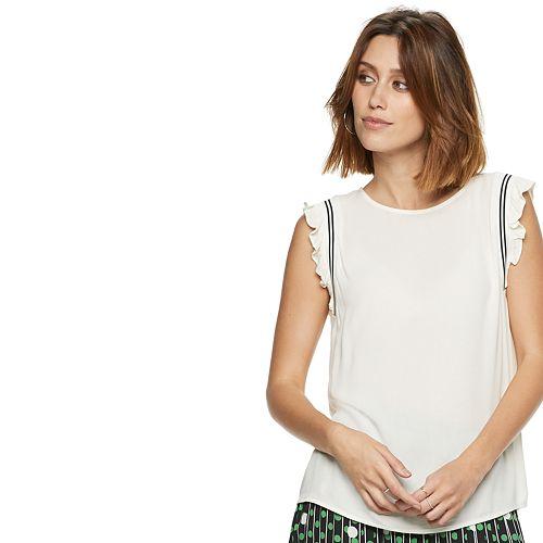 Women's POPSUGAR Striped-Trim Ruffled Top
