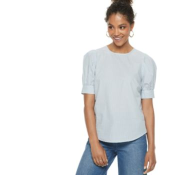 Women's POPSUGAR Striped Puff-Sleeve Blouse