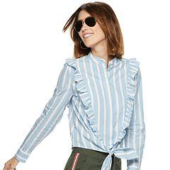 Women's POPSUGAR Ruffled Knot-Front Crop Shirt