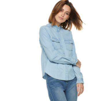 Women's POPSUGAR Ruffle-Collar Denim Shirt