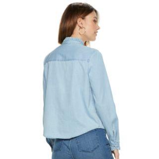 Women's POPSUGAR Ruffle-Collar Denim Shirt