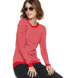 Women's POPSUGAR Striped Puff-Sleeve Sweater