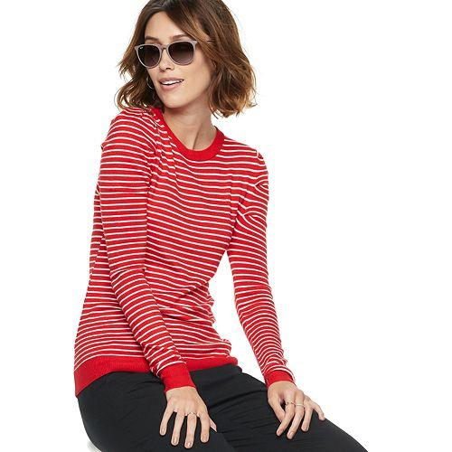 Women's POPSUGAR Striped Puff-Sleeve Sweater