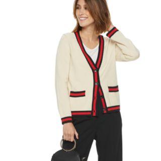 Women's POPSUGAR Varsity Striped Cardigan Sweater