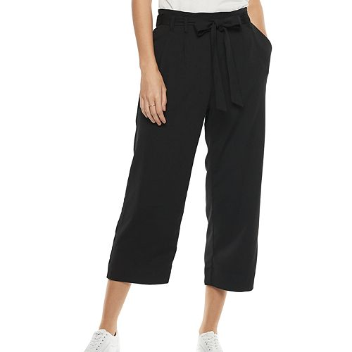 Women's POPSUGAR Paperbag-Waist Wide Leg Crop Pants