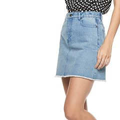 Women's POPSUGAR Frayed-Hem Jean Skirt