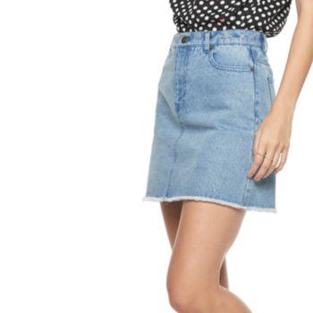 Women's POPSUGAR Frayed-Hem Jean Skirt