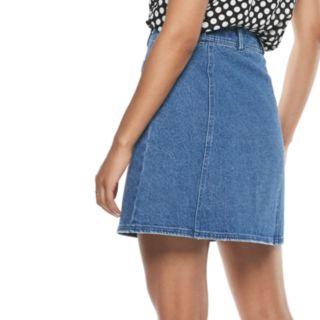 Women's POPSUGAR Button-Front Denim Mini Skirt