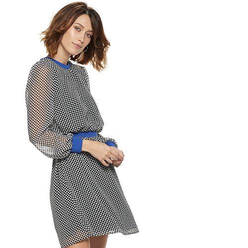 Women's POPSUGAR Constrast-Trim Dot Mini Dress