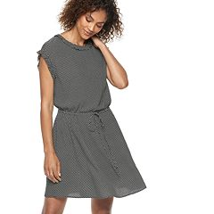 Women's POPSUGAR Dot Ruffle-Trim Drawstring Dress