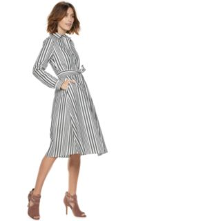 Women's POPSUGAR Striped Midi Shirt Dress