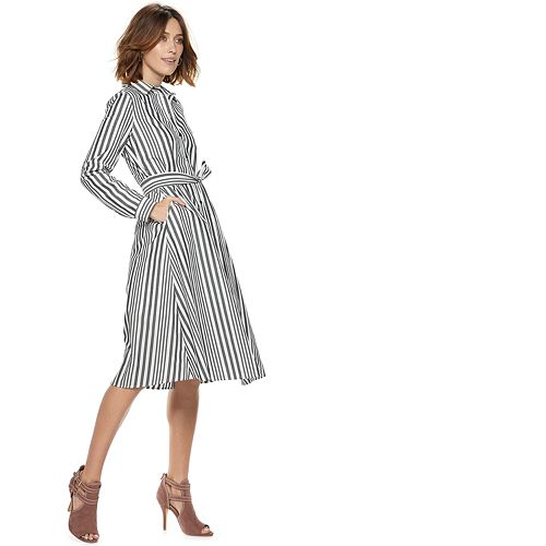 Women's POPSUGAR Striped Midi Shirt Dress
