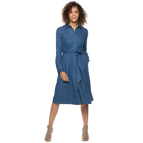 8b4b0c76b7 Women s POPSUGAR Denim Midi Shirt Dress