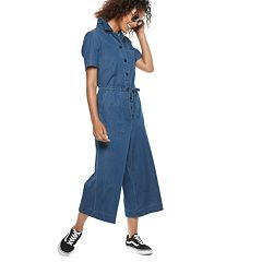Women's POPSUGAR Cropped Wide-Leg Denim Jumpsuit