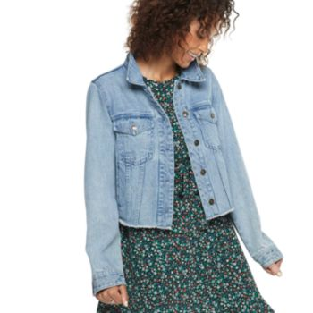 Women's POPSUGAR Frayed Cropped Jean Jacket