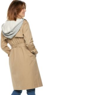 Women's POPSUGAR Hooded Chambray Trench Coat