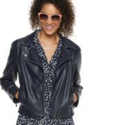 Women's POPSUGAR Crop Faux-Leather Moto Jacket