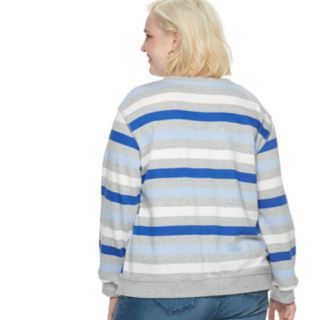 "Plus Size POPSUGAR ""Love Ya Self"" Striped Sweater"