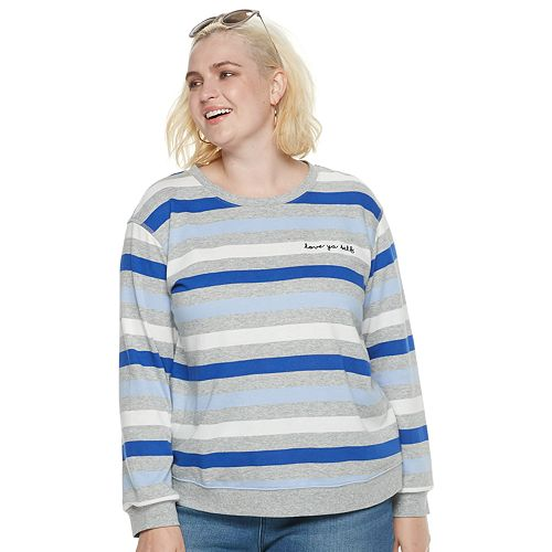 "Plus Size POPSUGAR ""Love Ya Self"" Striped Sweater"