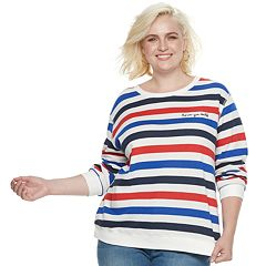 Plus Size POPSUGAR 'Love Ya Self' Striped Sweater