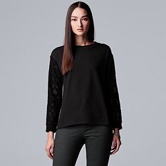 Women's Simply Vera Vera Wang Open-Work Crewneck Sweatshirt