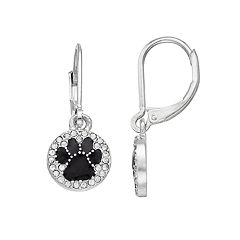 Pet Friends Simulated Crystal Paw Print Disc Drop Earrings
