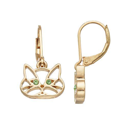 Pet Friends Simulated Crystal Cat Drop Earrings