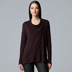 Women's Simply Vera Vera Wang Cozy Seamed Cowlneck Top