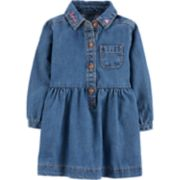 "Baby Girl Carter's ""Love"" Henley Denim Dress"