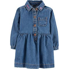 Baby Girl Carter's 'Love' Henley Denim Dress