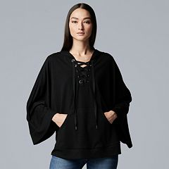 Women's Simply Vera Vera Wang Lace-Up Poncho Sweatshirt