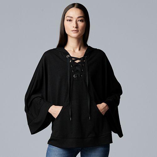 Women's Simply Vera Vera Wang Lace-Up Poncho Sweatshirt