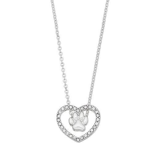 Pet Friends Paw Print Heart Necklace