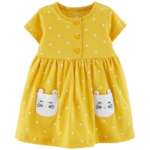 6974e498a88f Baby Girl Carter's Heart Kitty-Pocket Dress