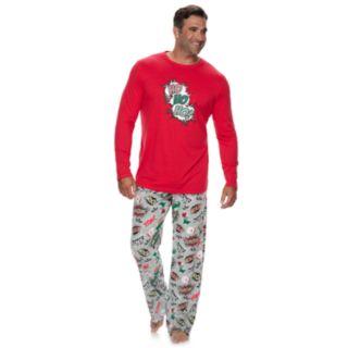 """Big & Tall Jammies For Your Families """"Ho Ho Ho!"""" Comic Book Top & Microfleece Bottoms Pajama Set"""