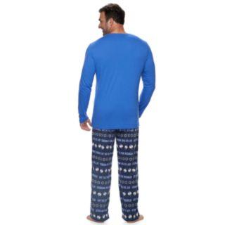"Big & Tall Jammies For Your Families Hanukkah ""Oy to the World"" Top & Microfleece Bottoms Pajama Set"