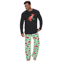 Big & Tall Jammies For Your Families Dino 'Rawr to the World' Top & Microfleece Bottoms Pajama Set