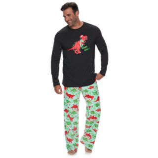 "Big & Tall Jammies For Your Families Dino ""Rawr to the World"" Top & Microfleece Bottoms Pajama Set"