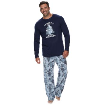 """Big & Tall Jammies For Your Families Holiday Camouflage """"Wander in a Winter Wonderland"""" Top & Microfleece Bottoms Pajama Set"""