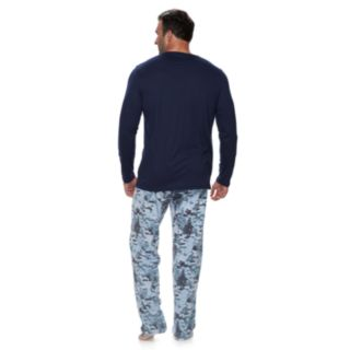 "Big & Tall Jammies For Your Families Holiday Camouflage ""Wander in a Winter Wonderland"" Top & Microfleece Bottoms Pajama Set"
