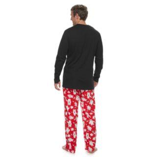 """Big & Tall Jammies For Your Families """"Yeti For Christmas"""" Top & Microfleece Bottoms Pajama Set"""