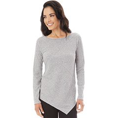 Women's Apt. 9® Soft Asymmetrical Mixed Rib Crewneck Sweater