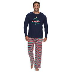 Big & Tall Jammies For Your Families 'This Family Loves Christmas' Top & Microfleece Striped Bottoms Pajama Set