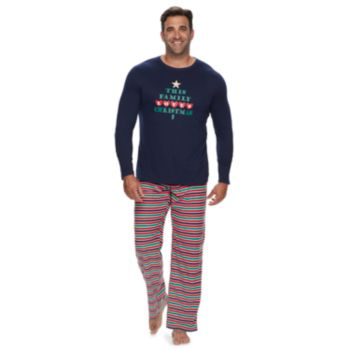 """Big & Tall Jammies For Your Families """"This Family Loves Christmas"""" Top & Microfleece Striped Bottoms Pajama Set"""