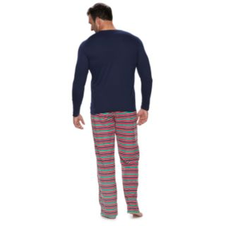 "Big & Tall Jammies For Your Families ""This Family Loves Christmas"" Top & Microfleece Striped Bottoms Pajama Set"