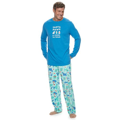 """Big & Tall Jammies For Your Families """"Santa Paws is Coming to Town"""" Top & Microfleece Dog & Cat Pattern Bottoms Pajama Set"""