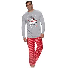 Big & Tall Jammies For Your Families Snowman & Snowflakes 'Total Meltdown' Top & Microfleece Bottoms Pajama Set