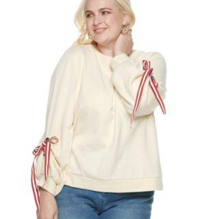 Plus Size POPSUGAR Tie-Sleeve Sweatshirt