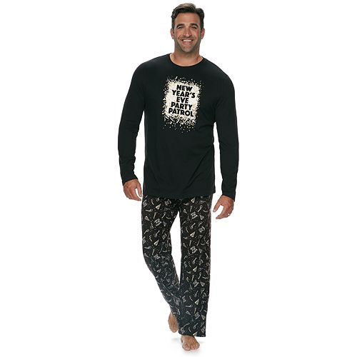 "Big & Tall Jammies For Your Families New Year's Eve ""Party Patrol"" Top & Microfleece Bottoms Pajama Set"