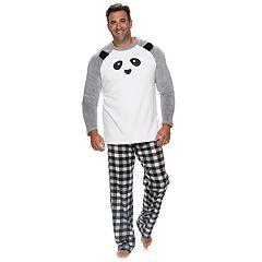 Big & Tall Jammies For Your Families Panda Bear Microfleece Top & Plaid Bottoms Pajama Set